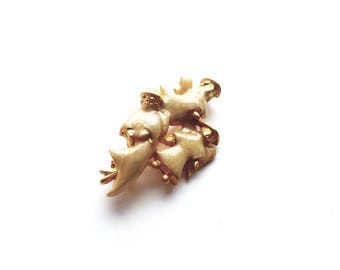 Vintage Gold  and Enamel Angels Pin Brooch