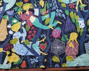 Stig Lindberg linen fabric Lustgården made in Sweden 60s