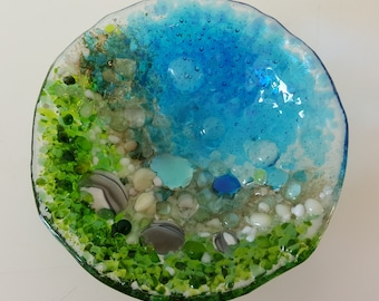 By the Pond Blue and Green Trinket dish fused glass