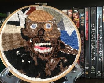 Tarman The Return of the Living Dead Cross Stitch Hoop Art