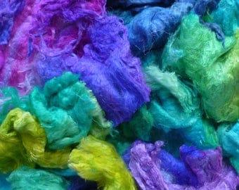 Mulberry silk mixed bag of scrap/seconds - A grade silk lap - hand dyed silk fibers - needle felting - mulberry silk - spinning -silk thread