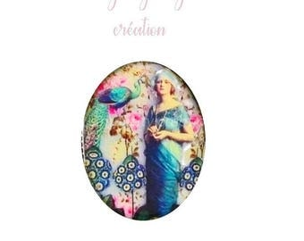 """""""Retro"""" model oval resin cabochon personalized 40 x 30mm"""