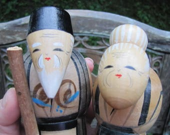 Delightful Vintage Elderly Asian Couple Man and Woman Wooden Doll Figurine