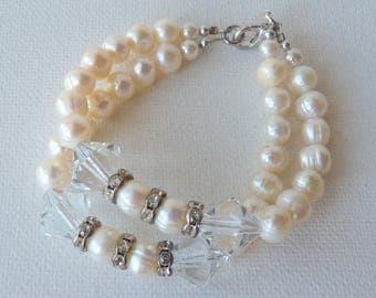Silver Pearl Bracelet Silver Tone Rhinestone Crystal, Double String Handmade Bracelet, Retro Beaded Jewelry, Wedding Accessories, Costume