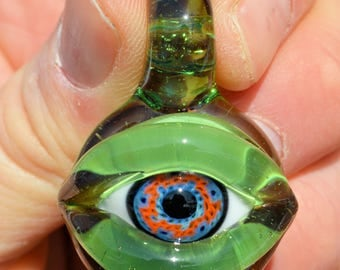 Boro simple uv reactive eyeball pendant