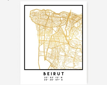 Beirut Map Coordinates Print - Lebanon City Street Map Art Poster, Gold Beirut Map Print, Lebanon Beirut Coordinates Lebanese Poster Map