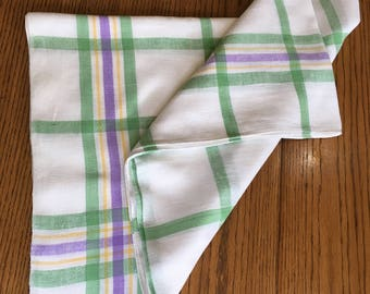 Tablecloth Vintage Plaid Woven Linen, White with Green, Purple and Yellow Plaid, Rectangular 52 x 68 inches, Laundered and Pressed
