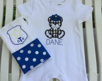 Police Inspired Romper and Burp Cloth!