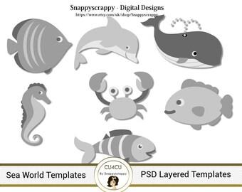 Sea World Photoshop Layered Templates