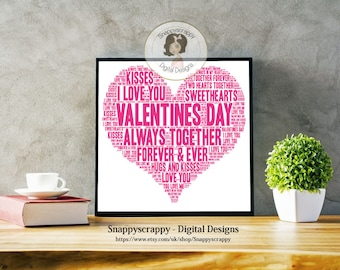 Valentines Day Typography, Valentines Word Art.   Print Your Own.   Instant Download