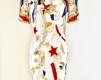 Vintage Red, White & Blue Sequined Gown