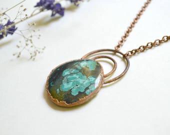 Magnesite Turquoise & Copper Pendent
