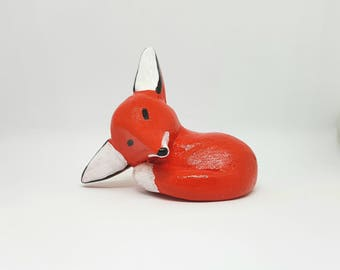 Clay sleeping fox animal totem figurine