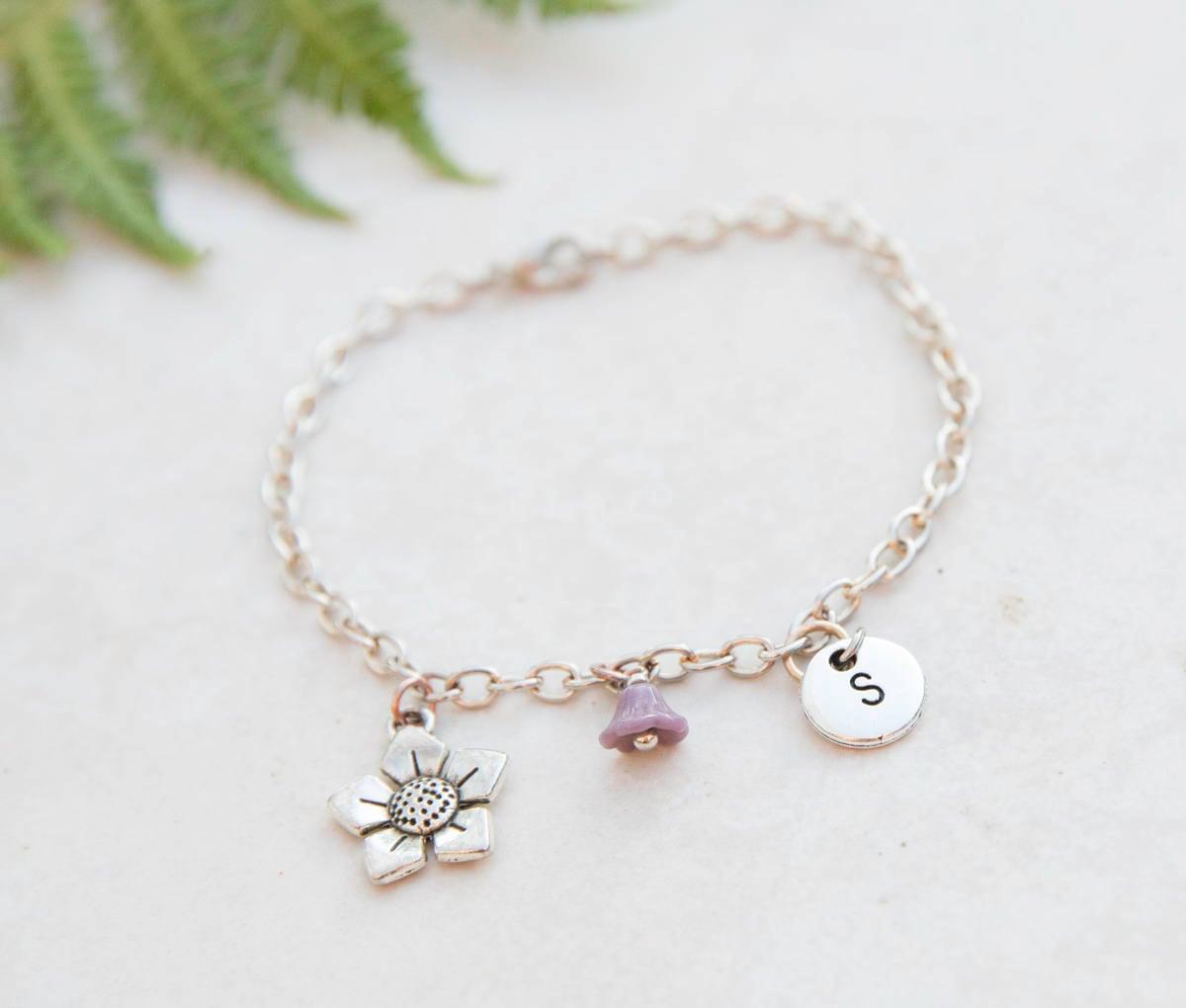 silver charm bracelet chain charm bracelet initial bracelet