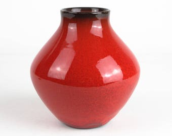 70s red vintage ceramic vase, West German Pottery, Mid Century, modernist