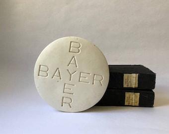 vintage Bayer aspirin advertising premium paperweight, oversized pill, doctor's office decor, bookend, got a headache gag gift