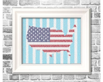 4th of July Print / America in Songs / Independence Day Decor / Patriotic Word Art / Digital Printable Fourth of July Decor
