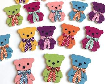 20 Fun Wooden Teady Bears Embellishment Buttons Cardmaking Scrapbooking