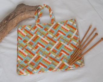 Large knitting bag, sewing bag, craft bag, yarn bag, crochet bag, sweater bag, tape measure fabric