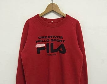 20% OFF Vintage Fila Big Logo Sweatshirt/Fila Sweater/Casual Clothing/Fila Sport Sweater/Fila Italia
