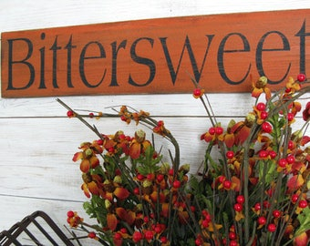 Bittersweet Sign 24 inch - Hand Painted Wood Bittersweet Sign in Dark Orange - Farmhouse Wall Decor - Autumn and Fall Decor