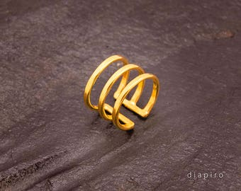 Silver Ring, Goldplated, Adjustable size, Everyday Ring, Handmade, Jewelry