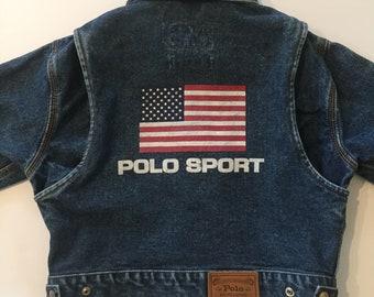 Vtg Polo Sport Youth Denim Jacket Size 6 Ralph Lauren