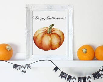 Happy Halloween Sign, Pumpkin Decor, Pumpkin Print, Halloween Print, Halloween Pumpkin, Halloween Decor, Rustic Halloween Decorations