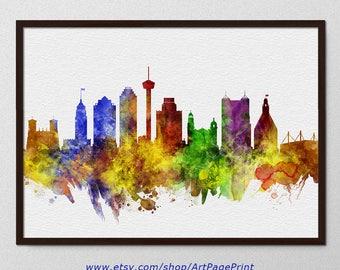 San Antonio Skyline Print, San Antonio Texas Watercolor, Wedding Wall Art, San Antonio Home Decor, San Antonio Colorful (A0617)