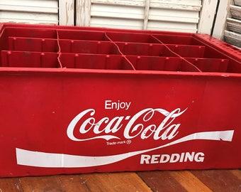 Vintage Red Plastic Coca Cola Crate~Vintage Decor,Vintage Advertising,Storage Crate,Upcycle Project,Succulent Planter,Soda Crate,Movie Prop