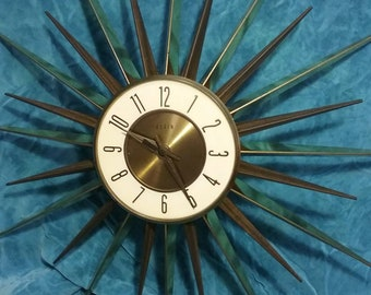 Elgin Mid Century Modern Starburst Clock