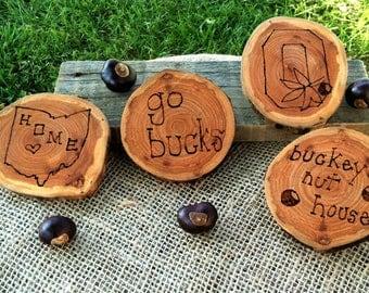Ohio State Buckeye Wood Coaster, Decoration Set of 4