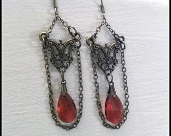 Gothic victorian earring bronze with amber orange stone, steampunk, victorian jewelry, handmade gift
