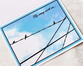 Fly away with me...    Card with swallows on a wire -
