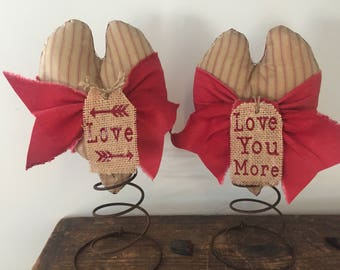 """1 Country Handmade Heart/Valentine on a Bedspring """"Love You More"""" Or """"Love w/Arrows"""