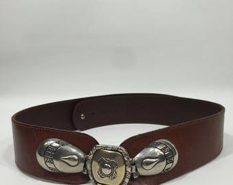 80's high waist belt / Belt 80's Buckle / Leather Belt Buckle / 80s Belt High Waist / Belt Leather Buckle
