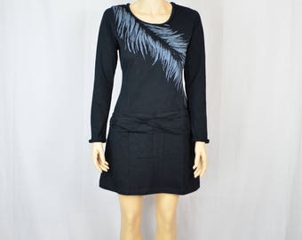 Black Cotton Dress w/ Feather Print