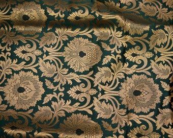 Silk Brocade Fabric Bottle Green Gold, Banarasi Silk Brocade Fabric by the Yard, Banaras Brocade Art Silk for Wedding Dress, Indian Silk