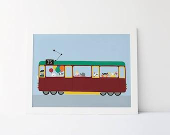 Melbourne city circle tram A4 print