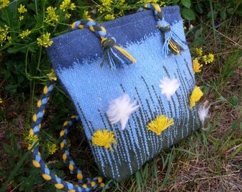 Hand Woven Shoulder Bag, Dandelions, Summer Bag, Textile Bag, Girl's Bag, Unique Hand Woven Bag