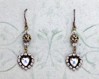 Vintage Crystal Heart Earrings with Niobium Earwires