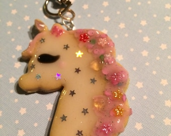 Unicorn cookie keychain
