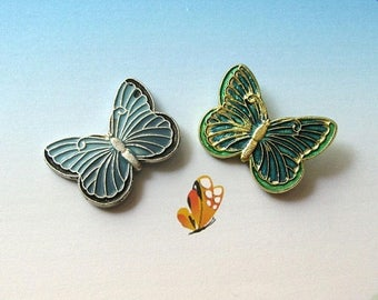 20% Off Sale Butterfly Pins, Butterfly Brooch, Enamel Butterfly, Gold Tone Pin, Insect Pin, Butterfly Decor