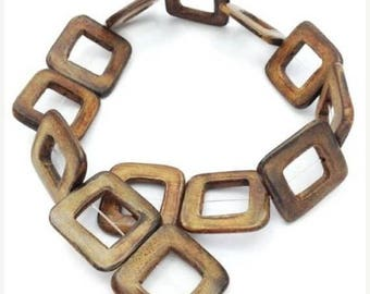SALE 15% OFF 1 strand Horn beads, square, burned Horn, 32mm, 13 pieces, rectangles, squares, gold, horn beads, Buffalo Horn