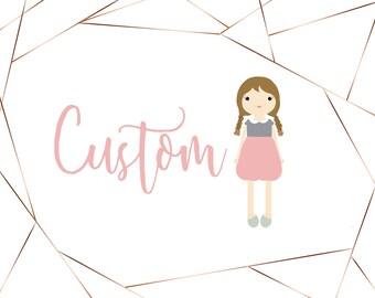 Custom handmade cloth doll, bespoke doll, 18 inch doll, custom rag doll, heirloom doll, bciloveyou doll, custom cloth doll, stuffed doll