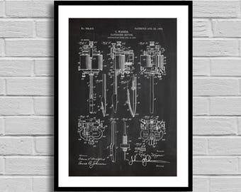 Tattoo machine Patent Print, Art Patent, Tattoo machine Wall Art Poster, Patent Print, Wall Art Poster, decor, Tattoo machine Patent art