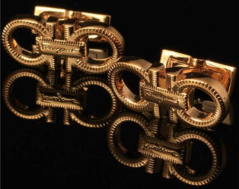Ferragamo Cufflinks in Yellow Gold Plated Men's Jewelry