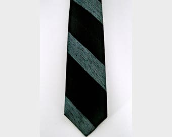 Vintage Skinny Tie, Blue and Black Stripe Necktie, 100% Acetate, Mid Century Narrow Tie, Circa 1950s