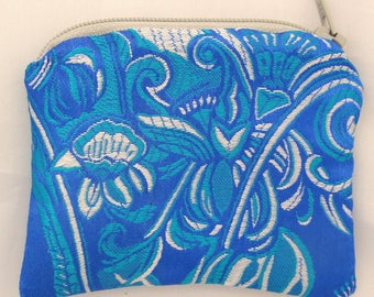 Small Blue, Teal and Silver White Print Brocade and Satin Coinpurse Coin Purse Pendulum Crystals Zipper Bag Pouch Fancy