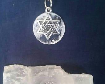 Merkaba Necklace // Selenite Meditation Crystal // Sacred Geometry Jewelry // Full Moon Pendant // Metaphysical Stone // White Light Energy